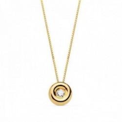 Gargantilla oro 18k cadena veneciana 42cm. colgante chatón 4.85mm. diamante 0.015ct. brillante