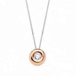 Gargantilla oro bicolor 18k cadena veneciana 42cm. colgante chatón 6mm. diamante 0.050ct. brillante