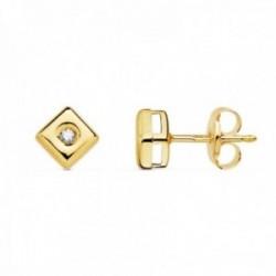 Pendientes oro 18k chatón rombo cuadrado 4.5mm. diamantes 0.030ct. brillantes cierre presión