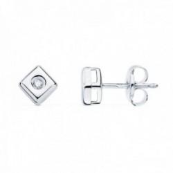 Pendientes oro blanco 18k chatón rombo cuadrado 4.5mm. diamantes 0.030ct. brillantes cierre presión