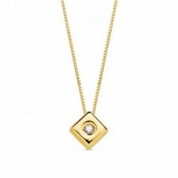 Gargantilla oro 18k cadena veneciana 42cm. colgante chatón rombo 4.5mm. diamante 0.015ct. brillante