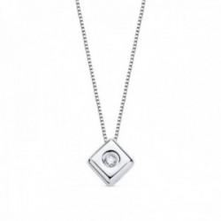 Gargantilla oro blanco 18k cadena veneciana 42cm. chatón rombo 4.85mm. diamante 0.015ct brillante