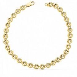 Pulsera oro 18k chatones 18.5mm. diamantes brillantes 0.434ct. cierre mosquetón