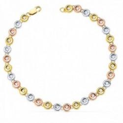 Pulsera oro tricolor 18k chatones 18.5mm. diamantes brillantes 0.434ct. cierre mosquetón