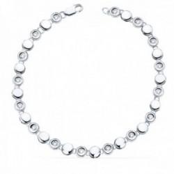 Pulsera oro blanco 18k chatones 18.5mm. diamantes brillantes 0.24ct. cierre mosquetón