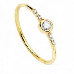 Sortija oro 18k estilo soliario diamantes billantes 0.14ct. cuerpo liso