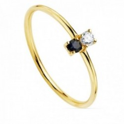Sortija oro 18k centro diamante brillante 0.05ct. zafiro cuerpo liso