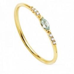 Sortija oro 18k laterales diamantes brillantes 0.03ct. centro aguamarina oval cuerpo liso
