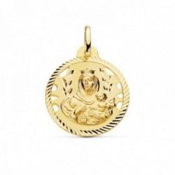 Medalla oro 18k Virgen del Carmen 22mm. detalles calados cerco hélice tallado