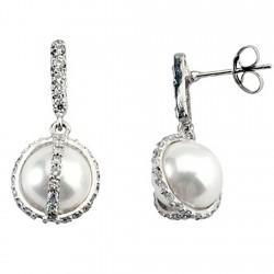 Pendiente oro blanco 18k largo perla banda circonita [5810]