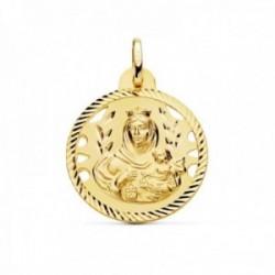 Medalla oro 18k Virgen del Carmen 24mm. detalles calados cerco hélice tallado