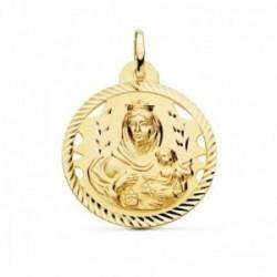 Medalla oro 18k Virgen del Carmen 26mm. detalles calados cerco hélice tallado