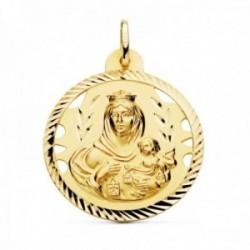 Medalla oro 18k Virgen del Carmen 30mm. detalles calados cerco hélice tallado
