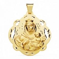 Medalla oro 18k Virgen del Carmen 42mm. forma pandereta calada detalles tallados