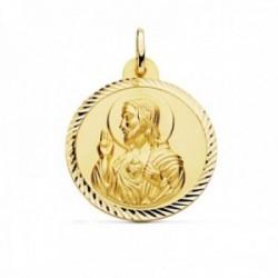 Medalla oro 18k escapulario 28mm. Corazón de Jesús Virgen del Carmen cerco tallado foma hélice
