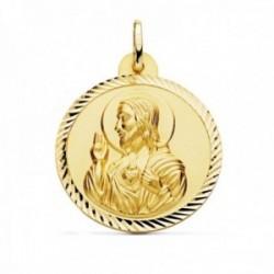 Medalla oro 18k escapulario 30mm. Corazón de Jesús Virgen del Carmen cerco tallado foma hélice