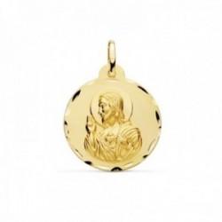 Medalla oro 18k escapulario 22mm. Corazón de Jesús Virgen del Carmen borde detalles tallados