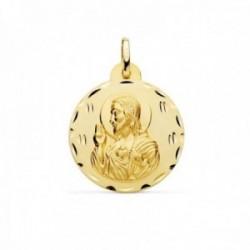 Medalla oro 18k escapulario 24mm. Corazón de Jesús Virgen del Carmen borde detalles tallados