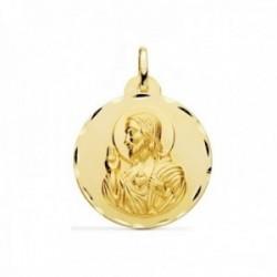 Medalla oro 18k escapulario 26mm. Corazón de Jesús Virgen del Carmen borde detalles tallados
