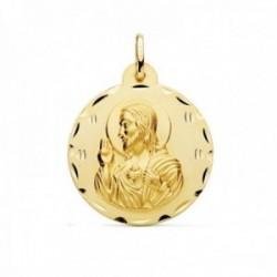 Medalla oro 18k escapulario 28mm. Corazón de Jesús Virgen del Carmen borde detalles tallados