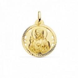 Medalla oro 18k escapulario 22mm Corazón de Jesús Virgen del Carmen calado cerco tallado foma hélice