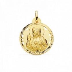 Medalla oro 18k escapulario 24mm Corazón de Jesús Virgen del Carmen calado cerco tallado foma hélice