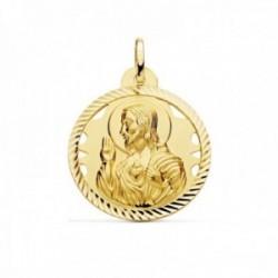 Medalla oro 18k escapulario 26mm Corazón de Jesús Virgen del Carmen calado cerco tallado foma hélice