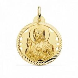 Medalla oro 18k escapulario 28mm Corazón de Jesús Virgen del Carmen calado cerco tallado foma hélice