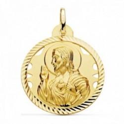Medalla oro 18k escapulario 30mm Corazón de Jesús Virgen del Carmen calado cerco tallado foma hélice