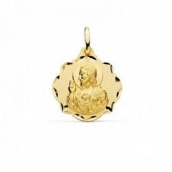 Medalla oro 18k escapulario 20mm. Corazón de Jesús Virgen del Carmen forma pandereta tallada