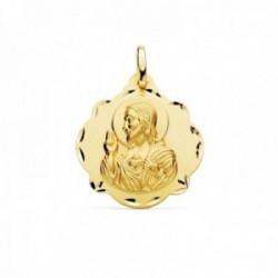 Medalla oro 18k escapulario 24mm. Corazón de Jesús Virgen del Carmen forma pandereta tallada