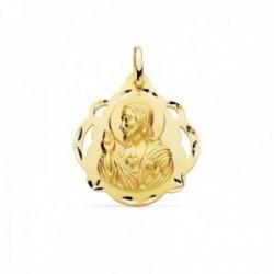 Medalla oro 18k escapulario 24mm. Corazón de Jesús Virgen del Carmen calada forma pandereta tallada