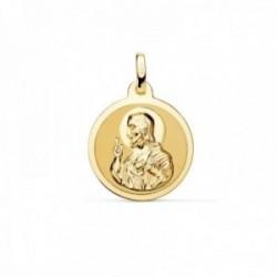 Medalla oro 18k escapulario 18mm. Corazón de Jesús Virgen del Carmen mate cerco brillo