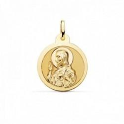 Medalla oro 18k escapulario 20mm. Corazón de Jesús Virgen del Carmen mate cerco brillo