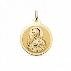 Medalla oro 18k escapulario 24mm. Corazón de Jesús Virgen del Carmen mate cerco brillo
