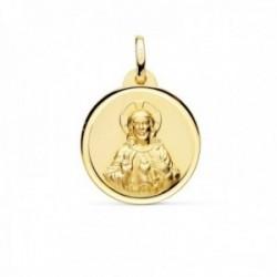 Medalla oro 18k Corazón de Jesús 18mm. lisa cerco