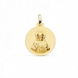 Medalla oro 18k escapulario 18mm. Corazón de Jesús Virgen del Carmen liso