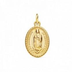 Medalla oro 18k oval 18mm. Virgen de Guadalupe de Mexico trasera detalle