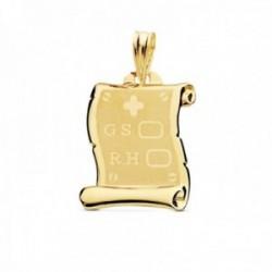 Colgante oro 18k pergamino 18mm. G.S. R.H. fondo mate detalles cerco brillo