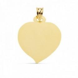Colgante oro 18k chapa 23mm. foma corazón matizado liso