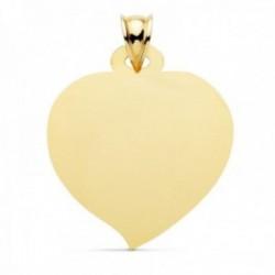 Colgante oro 18k chapa 28mm. foma corazón matizado liso