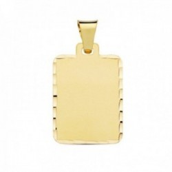 Colgante oro 18k chapa mate 24mm. rectangular detalle cerco tallado
