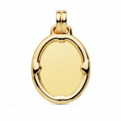Colgante oro 18k chapa oval 26mm. brillo liso detalle borde relieve