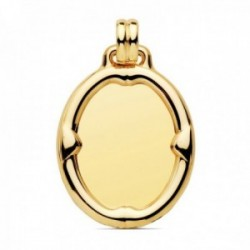 Colgante oro 18k chapa oval 29mm. brillo liso detalle borde relieve