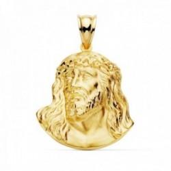 Colgante oro 18k cabeza Cristo Santo Rostro 27mm. acabado matizado detalles brillo tallados