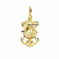 Colgante oro 18k Cruz Marinera 27mm. Virgen del Carmen acabado matizado detalles tallados brillo