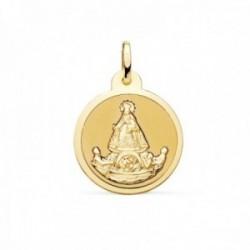 Medalla oro 18k Virgen de la Caridad del Cobre balsa 20mm. redonda acabado pulido cerco brillo