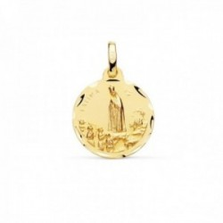 Medalla oro 18k Virgen de Fátima 16mm. matizada cerco detalles tallados