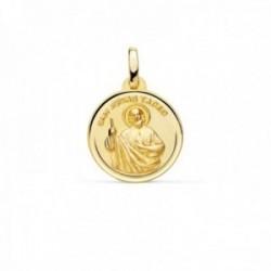 Medalla oro 18k San Judas Tadeo 16mm. bisel trasera patrón de los casos difíciles y desesperados