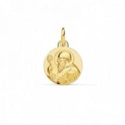 Medalla oro 18k escapulario San Benito 12mm. redondo liso matizado relieve